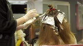 Young woman is having her hair flocks dyed in hair salon