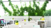transparent curtain : Interior of the white summer restaurant outdoors with flowers