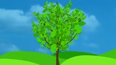 koncepty : Growing Tree Animation Wavy Leaves. An animated illustrationcartoon of a tree growing and leaves popping up on the branches. The leaves have some texture and wiggle and move for action.  clip comes with animated matte for easy isolation.