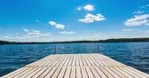 saturado : End of Residential Dock on Lake Time Lapse. a time lapse shot at the end of a residential dock on a lake during summer. relaxation.