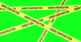 okładka : Construction Yellow Tape Roll Out Animations. animations of a variety of construction caution tape unravelling. Under construction text, and striped yellow and black. Single and groups. With luma matte for easy isolation. Wideo