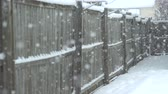zasněžené : Heavy Snow Fall Against an Old Brown Fence. camera racks focus on heavy snow fall during a winter storm with a brown fence in the background