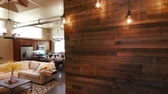 almofadas : Wood Wall and Lights Panning and Lowering to Main Living Room Open Layout. panning and lowering left from a reclaimed wood wall with vintage lights to show open loft style living area
