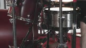vurmalı : Close Up Drums Played Tilt Down. close up shot of cymbals, drums, and pedals as camera tilts down