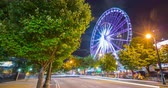 Downtown Atlanta Ferris Wheel at Night Timelapse. a night timelapse of the ferris wheel in downtown Atlanta and street