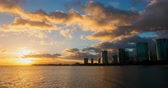 Honolulu City Timelapse at Sunset. a dramatic timelapse of waikiki beach at sunset in honolulu