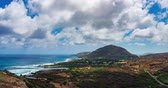 Oahu Shoreline View From Above Timelapse. a time lapse on the lighthouse trail looking over into the shorline with Koko Crater Mountain in the distance