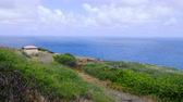 кратер : Walking Along Path Rise Over Bush to Ocean. a point of view shot walking along the coast of Hawaii with bush in foreground looking out into the ocean