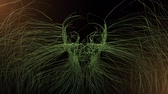koponya : Skull Formed by Growing Grass with Glow. animation of grass blades or weeds forming a skull in the middle with glow Stock mozgókép