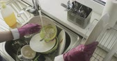 Pile of dirty dishes Stock Footage