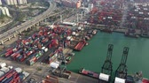 Aerial view of Hong Kong international cargo shipping port and container yard.