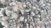 Aerial View From Flying Drone Of Hong Kong City Residential Tall Buildings. Vídeos