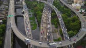 Aerial top down view of super highway during rush hour.