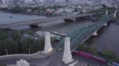chao phraya : Aerial view from flying drone of Bangkok Riverside Downtown Stock Footage