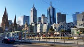 establishing shot : Melbourne City Victoria Australia - Trams