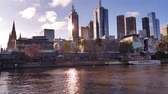 establishing shot : Melbourne City Victoria Australia - Yarra River Stock Footage