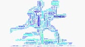 word cloud : Wellness fitness exercise dieting nutrition word cloud typography animation