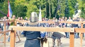 rycerz : Ukraine, Kharkov August 24, 2017: Full HD Video. Knight tournament among professionals and amateurs. Warm up before a heavy fight Wideo