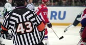 árbitro : Hockey referee hold a puck in his palm. Close view