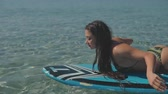 polinésia : Sexy chick on a supboard. Blue water. Sport, lifestyle and blogger concept.