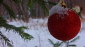 snow covered spruce : Christmas toy on a branch of spruce in the winter park
