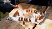 chess board : Ancient board game Stock Footage