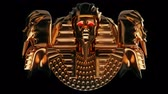 religion : Golden Pharaoh Heads VJ Loop - is a stunning ancient motion graphic illustration featuring a close-up view of Egypt Ruler face with bright red eyes. Perfect to use in the ancient videos, Egypt graphics, thematic VJ sets, futuristic sceneries, movie traile