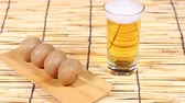 yamagata prefecture : Japanese food simmered konjac and glass of beer