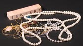 necklace : A collection of vintage jewelry Stock Footage