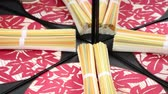 yummy : Dried colorful somen (japanese noodles) and japanese fan Stock Footage