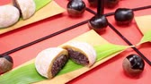 sticky : Japanese food, Tochimochi reflecting in the mirror Stock Footage