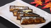 boiled : Kanroni of pacific saury Stock Footage
