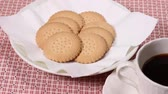crocante : Biscuits and cup of coffee Stock Footage