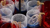 accessories : Jewelry in glass  reflecting in the mirror Stock Footage