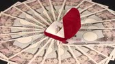 investimentos : 10000 Yen bills and Pearl ring. Stock Footage
