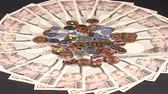 10000 Yen bills and coins. Wideo