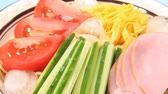 salata : Hiyashi Chuka, Japanese Cold Noodles Salad Stok Video