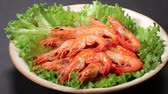 skrček : Boiled red prawns with lettuce