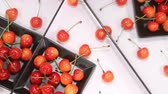 caught : Cherries reflecting in the mirror Stock Footage