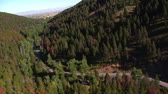 ladrão : aerial shot of forested canyon with highway Stock Footage