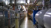 engenharia : zoom shot in complex machine room Stock Footage