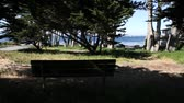 relaks : bench in park with ocean in distance