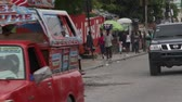 terremoto : ornate truck drives in Port-au-Prince Haiti Stock Footage