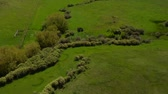 distante : Aerial shot of green, grassy valley  Stock Footage