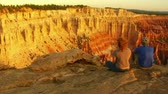 romance : dolly shot of couple at Bryce Canyon national Parkv