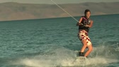 teenage girl wakeboarding Wideo