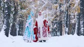 pillantás : Happy man and woman wearing New Year costumes walking in snow-covered forest