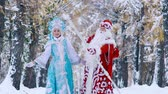 donzela : Happy Snow Maiden and Father Frost in the forest looking into the distance and greeting someone