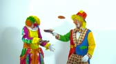 psychopath : Portrait of two funny clowns playing with pans and false-cakes