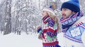 Lovely couple in colorful clothes enjoying their training in nature Stok Video